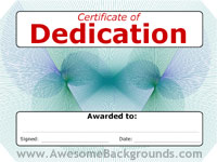 dedication certificate - powerpoint backgrounds