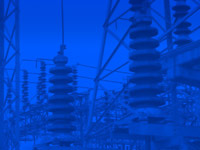 electric power industry power station insulators - powerpoint backgrounds