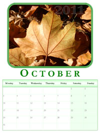 2011 powerpoint calendar October