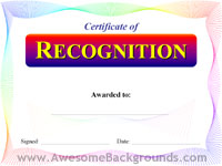 recognition certificate - powerpoint backgrounds